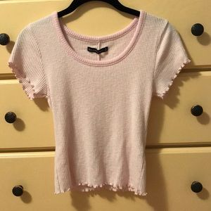 pink ribbed a&f crop top
